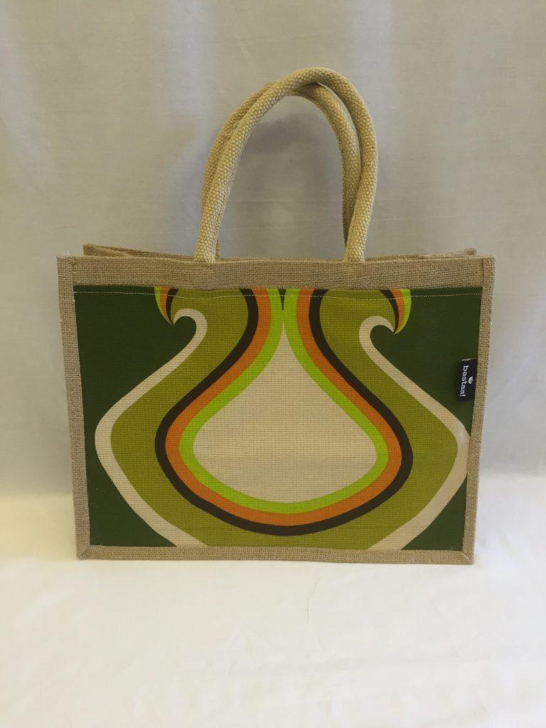 patroon groen oranje retro tas jute   Bastaa!