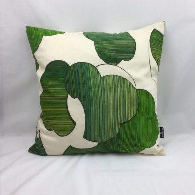 blad groen beige retro kussen 50x50
