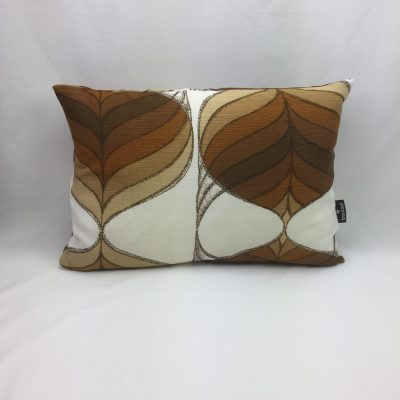 blad bruin beige retro kussen 35 x 50