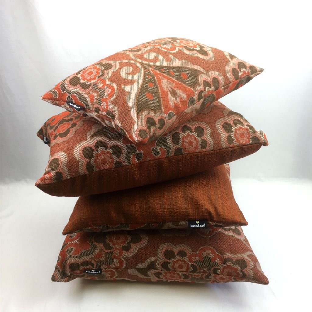 bloem patroon oranje bruin retro   Bastaa!
