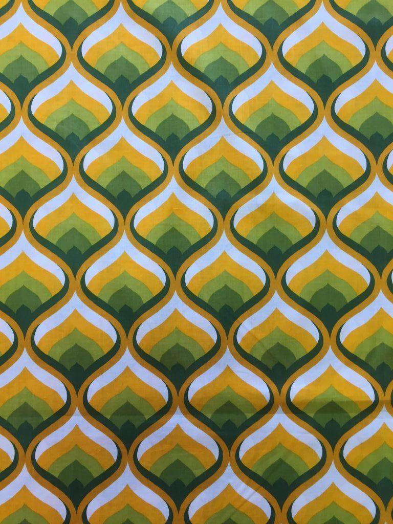 patroon tulp geel groen retro   Bastaa!