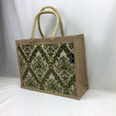 jute shopper groen vintage stof