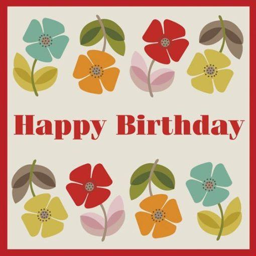 Happy birthday kaart retro
