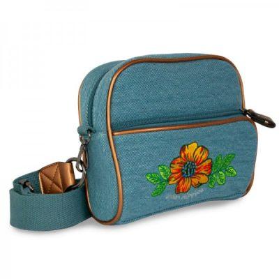 Dames schoudertas denim met bloem