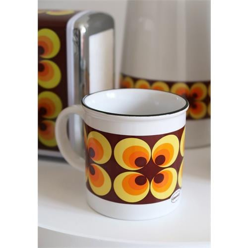 mok oranje bloem retro