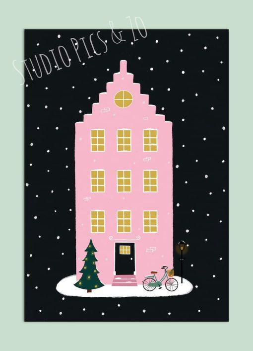 kerstkaart huisje roze