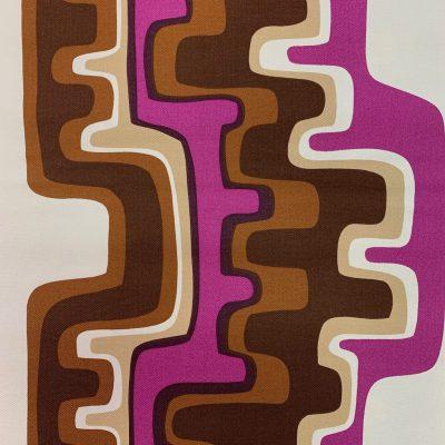 vintage stof paars bruin grafisch