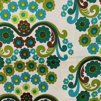 vintage stof 120cm breed groen bloemen