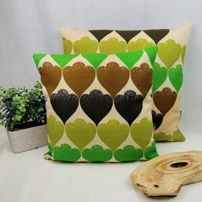 retro kussen hart goen beige inclusief binnekussen