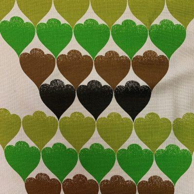 hart groen bruin beige stof retro