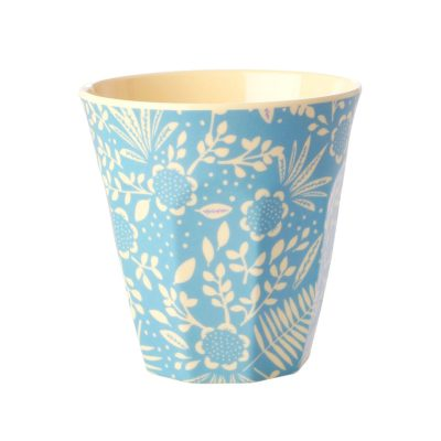 bloemen lichtblauw beker melamine