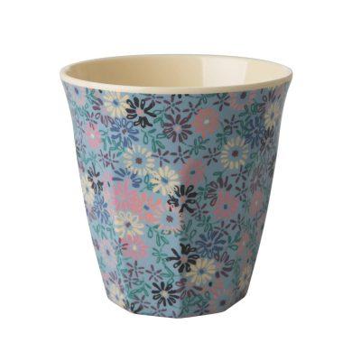 beker blauw bloemetjes medium