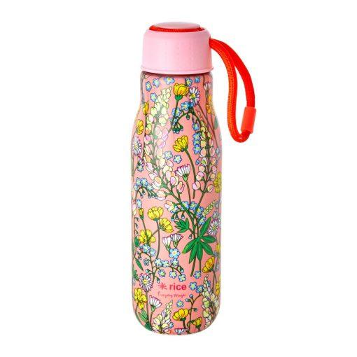 thermosfles roze rvs bloemen lupine rice