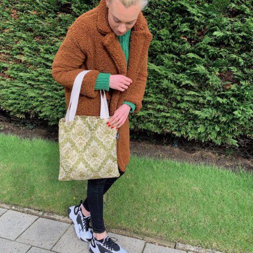 shopper stof vintage groen