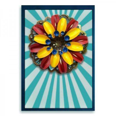 retro broche bloem handbeschilderd metaal