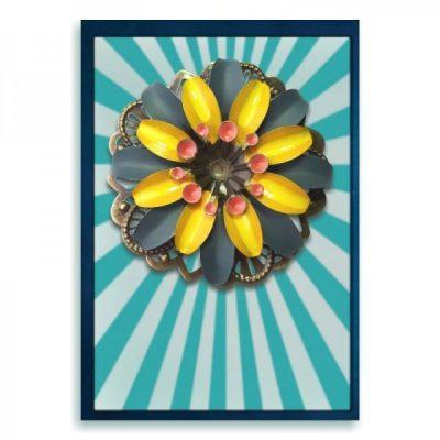 broche en haarspeld retro grijs met geel bloem
