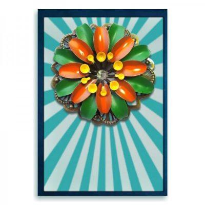 Tiki broche haarspeld olijfgroen en oranje bloem