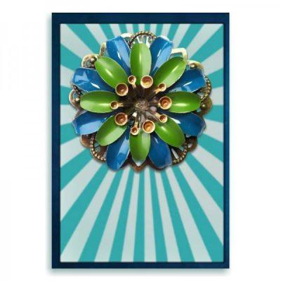 Tiki broche petrol en olijfgroen bloem handbeschilderd