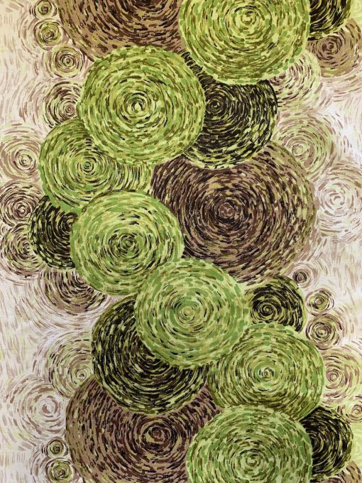 vintage stof groen bruin cirkel