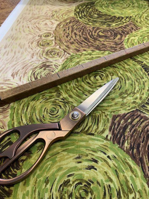 retro stof groen 12cm breed