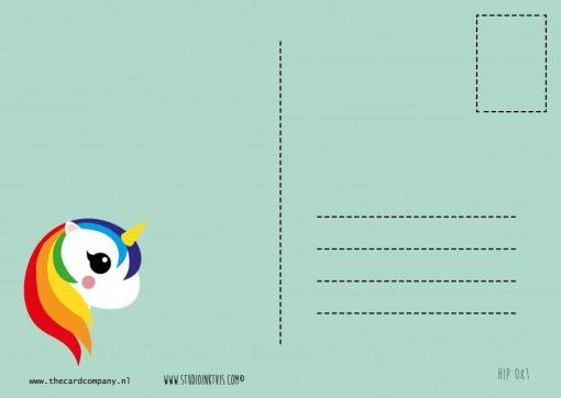 achterkant kaart regenboog eenhoorn
