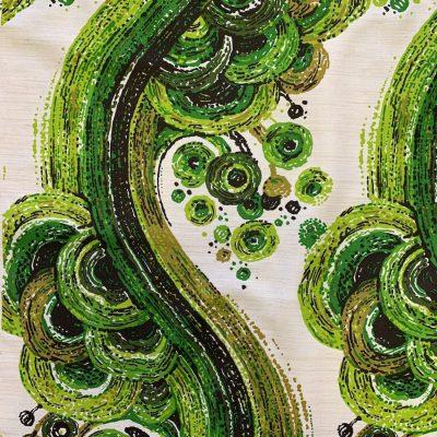 vintage stof jaren 70 groen 120cm breed