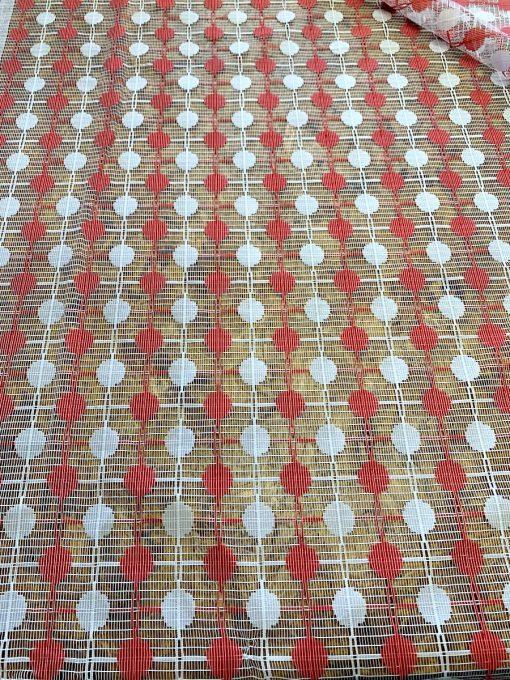 vitrage vintage rood wit cirkel
