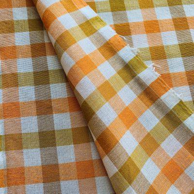 vintage stof geweven blok oranje
