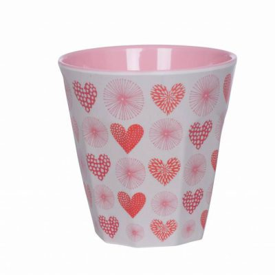 drinkbeker melamine hartjes roze