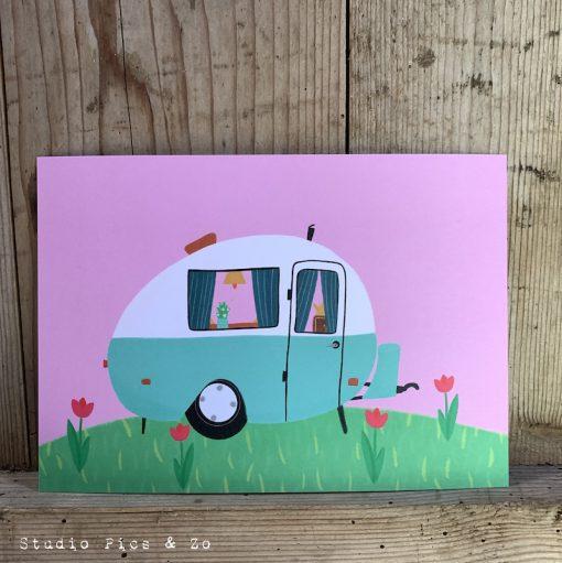 ansichtkaart retro caravan