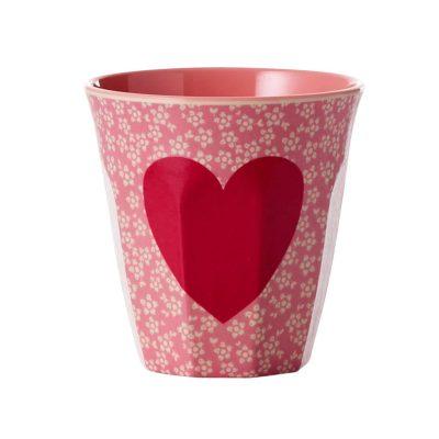 melamine cup hart met bloemen