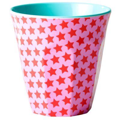 melamine cup medium sterretjes roze