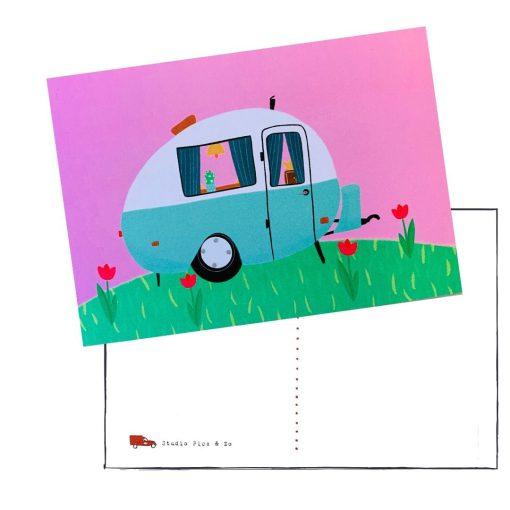 retro kip caravan kaartje