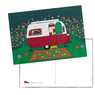 kaart A6 caravan retro