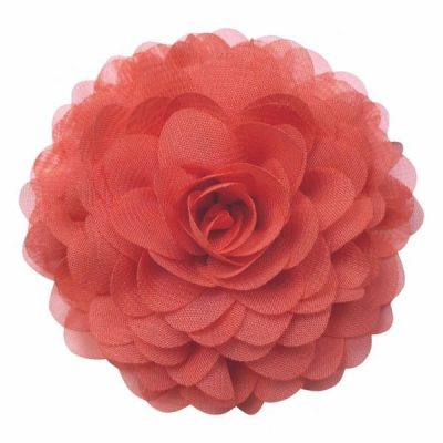 broche bloem coral rood