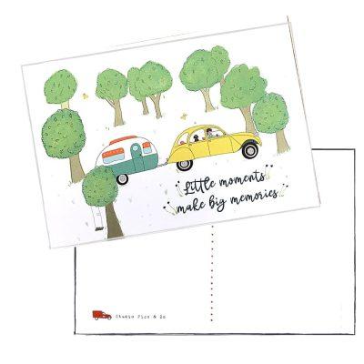 ansichtkaart A6 caravan lelijke eend