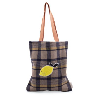 retro tas shopper ruit