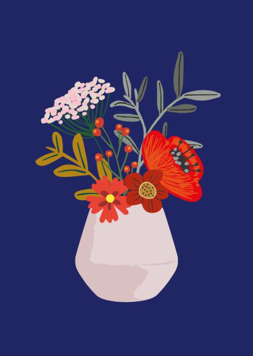 bloemen in vaas kaart