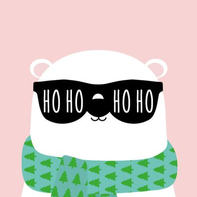 beer met sjaal studio inktvis kerst