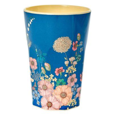 melamine cup groot blauw met bloemen rice