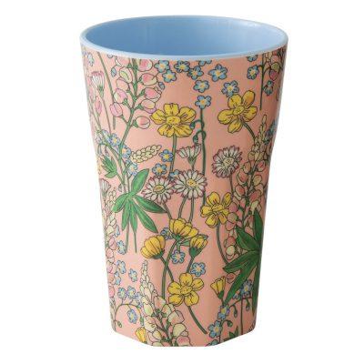 Grote melamine cup bloemetjes rice