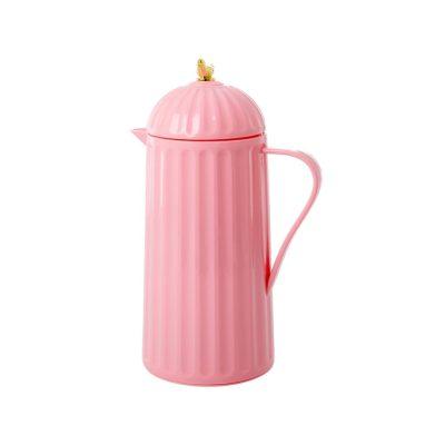 Thermosfles 1 liter roze met gouden vogel rice