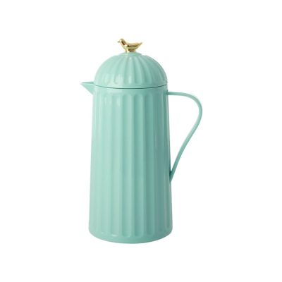licht blauw thermosfles 1 liter rice met gouden vogel