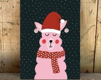 alpalca met muts kerst post card