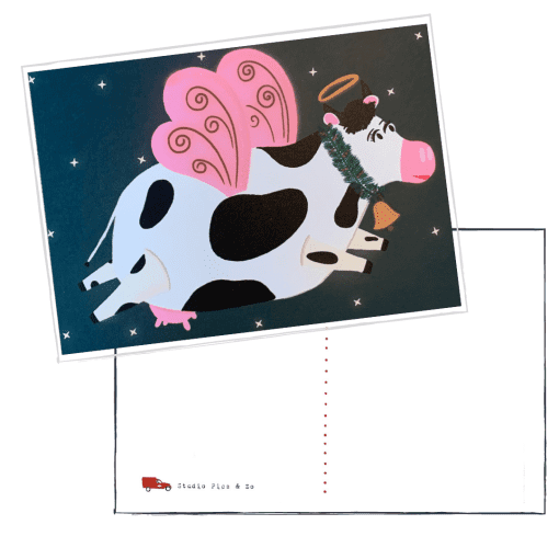 vliegen koe kerst engel kaart