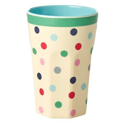 melamine cup large believe in red lipstick Dots