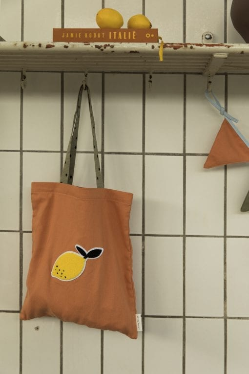 shopper oranje met lemon