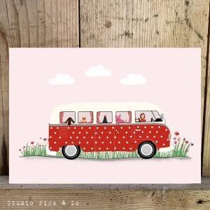 ansichtkaart stippeltjes bus