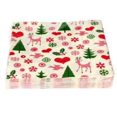 papieren servetten retro kerst
