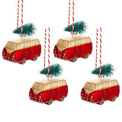 4 kerstballen mini camper retro